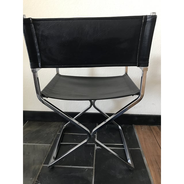 Vintage Mid-Century Modern Black Vinyl & Chrome Director Chair - Image 3 of 8