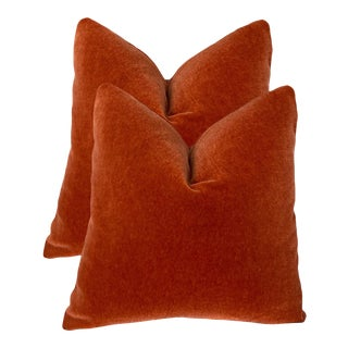 """Burnt Red Mohair Pillows 22"""" - a Pair For Sale"""