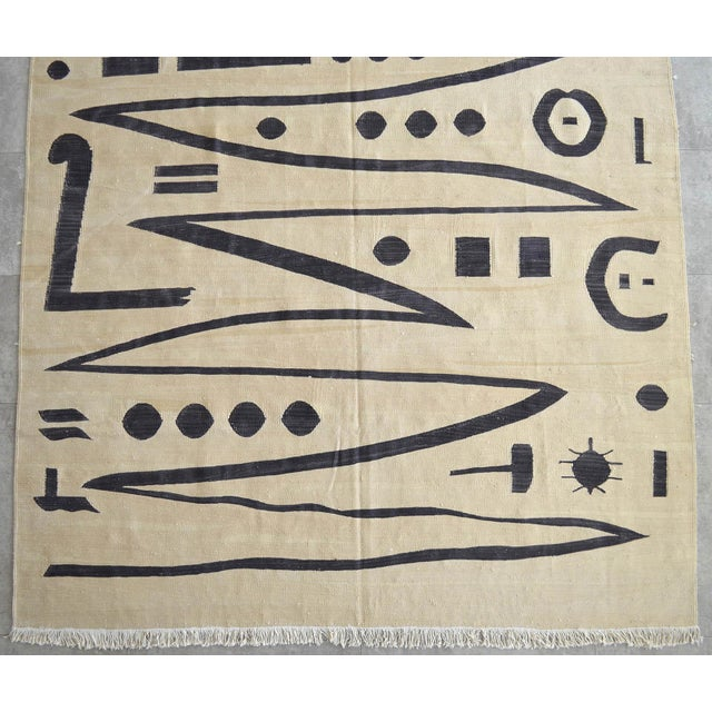 Black Paul Klee - Heroic Strokes of the Bow - Inspired Silk Hand Woven Area - Wall Rug 4′10″ × 6′7″ For Sale - Image 8 of 12