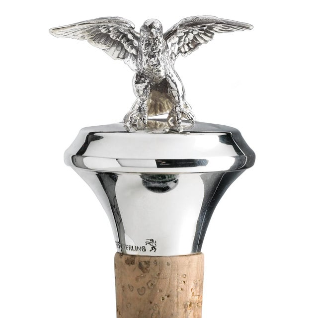 Contemporary Sterling Silver Cork Bottle Stopper With Eagle Figurine For Sale - Image 3 of 3