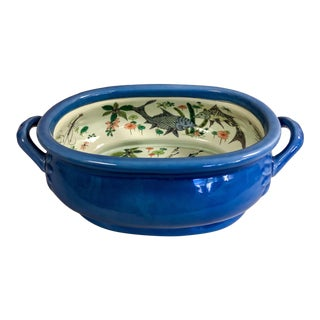 Gump's Chinoiserie Blue Footbath For Sale