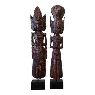 Tall Balinese Sculptures - A Pair For Sale