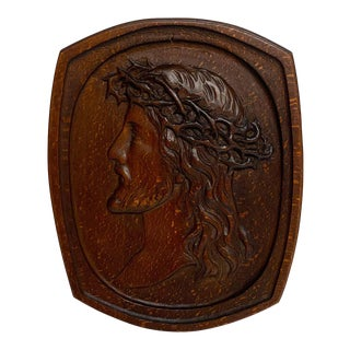 Antique English Carved Pollard Oak Plaque of Jesus With the Crown of Thorns For Sale