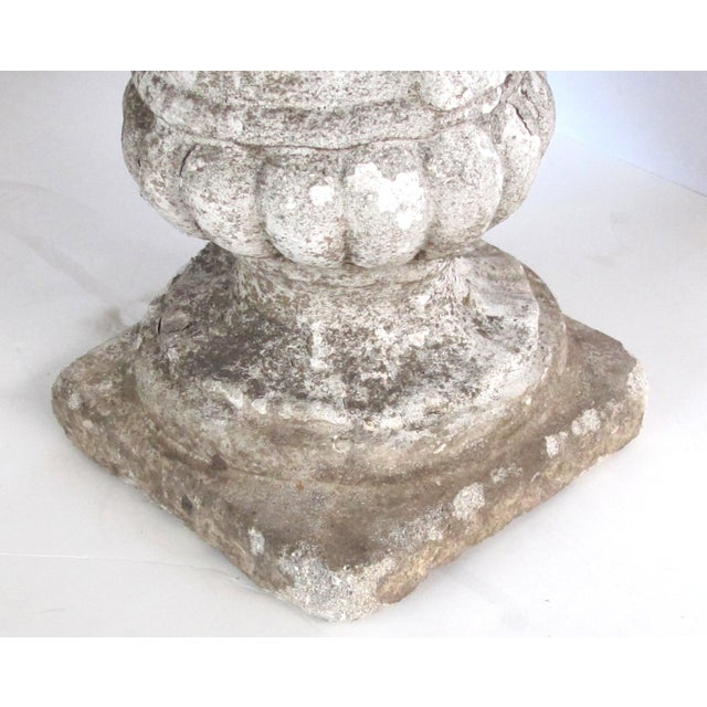 A Charming English Neoclassical Style Cast Stone Urn With Floral and Fruit Bouquet For Sale - Image 4 of 6