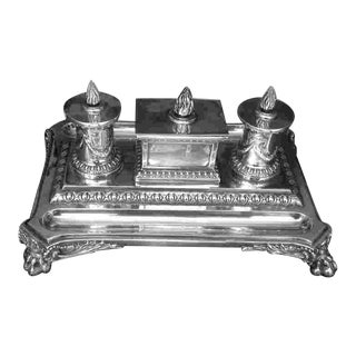19th C. British Sterling Inkwell For Sale