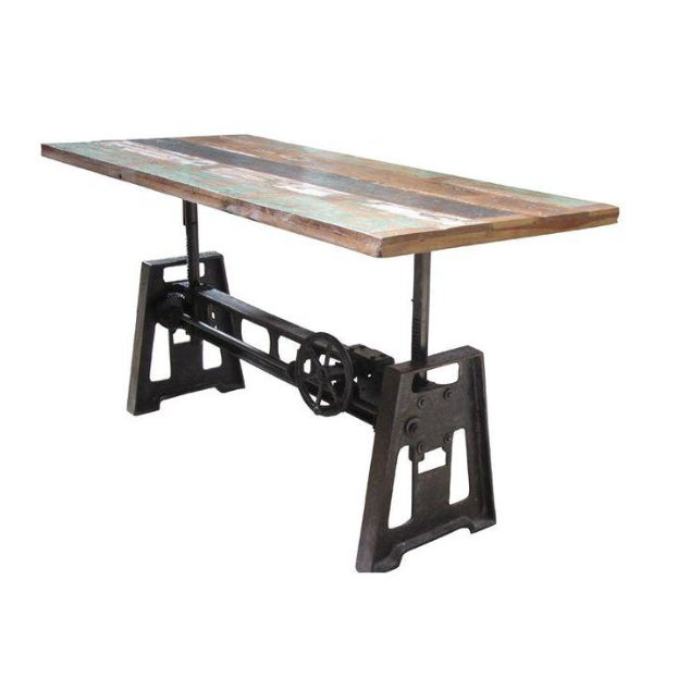 reclaimed wood and iron adjustable dining table chairish. Black Bedroom Furniture Sets. Home Design Ideas