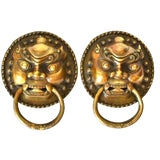Image of Asian Brass Door Knockers Guardians Large Pair For Sale