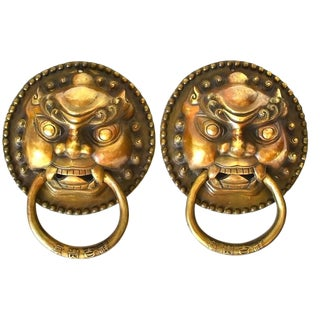 Asian Brass Door Knockers Guardians Large Pair For Sale