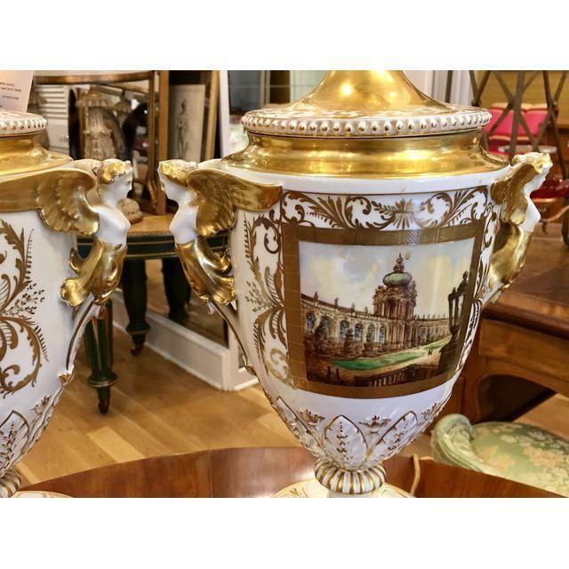 Neoclassical Antique Dresden German Porcelain Lamps - Carl Thieme Potschappel For Sale - Image 3 of 7