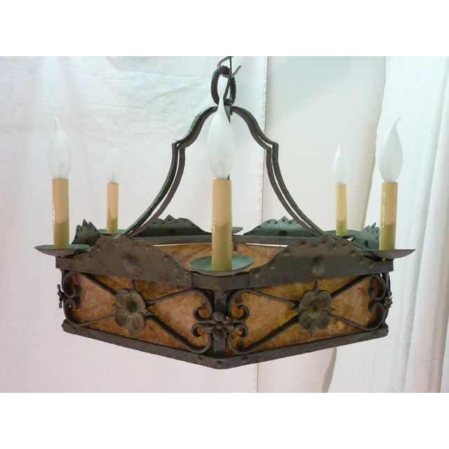 Arts & Crafts chandelier, micah sheets inside hexagonal frame, updated wiring, takes six candelabra bulbs, 60-W MAX, comes...