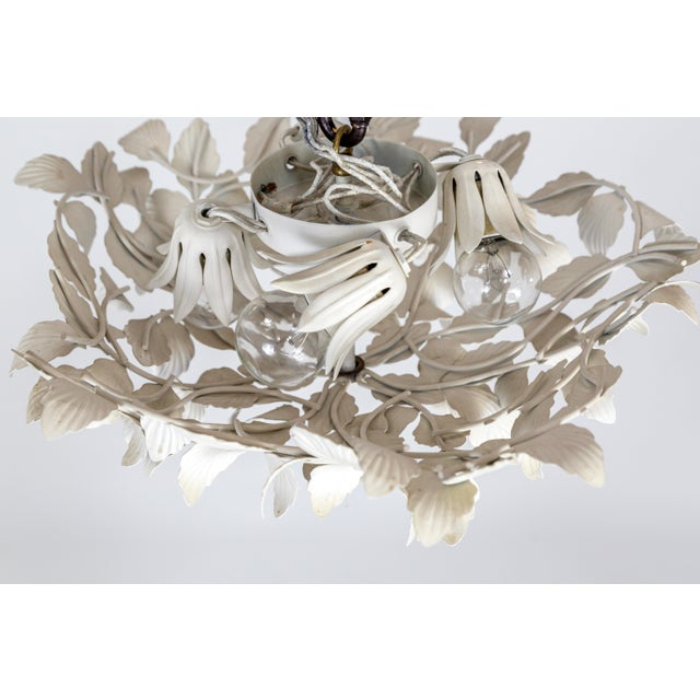 Metal White Tole Leaf Cluster Low Relief Wall or Ceiling Lights - 3 Available For Sale - Image 7 of 9