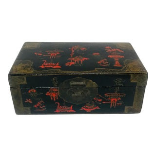 Black & Red Lacquer Asian Box