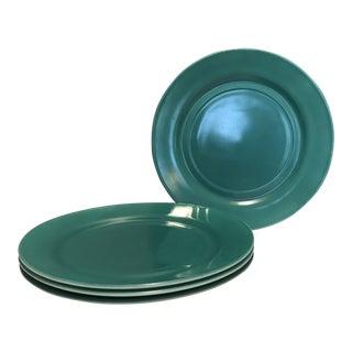 1930s Hazel Atlas Moderntone Turquoise Glass Dinner Plates - Set of 4 For Sale
