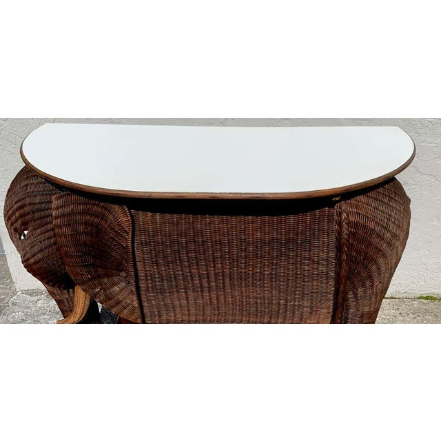 1960s Chinese Export Wicker Elephant Dry Bar For Sale - Image 4 of 13