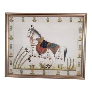 Large Framed Mughal Style Painting on Silk For Sale