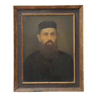 Oil Portrait of a Bearded Man With a Black Cap and Overcoat C.1920 For Sale