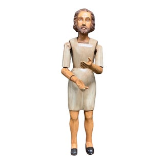 Articulated Hand Carved Wood Mannequin Saint Statue For Sale