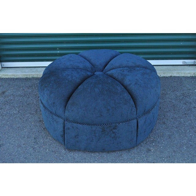 Hollywood Regency Style Large Century Blue Tufted Ottoman Coffee Table Stool - Image 2 of 11