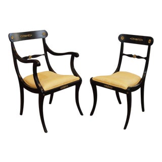 Set of Eight Ebonized Dining Chairs, Regency Style, circa 1920