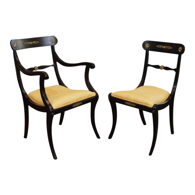 Set of Eight Ebonized Dining Chairs, Regency Style, circa 1920 For Sale
