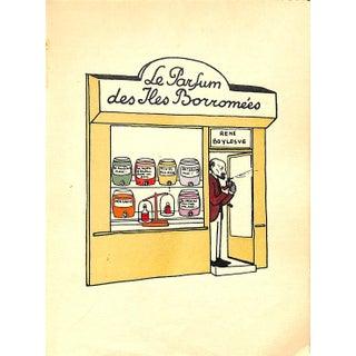 Paris Storefront, French Lithograph, Le Parfum Des Iles Borromees, Guilac 1925, Matted For Sale