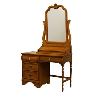 "Lexington Victoriana Series Solid Oak 44"" Desk W/ Mirror For Sale"