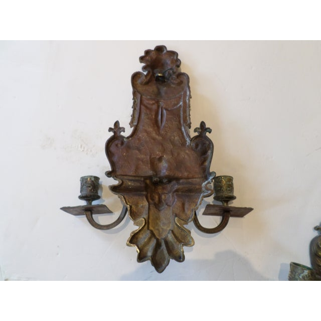 19th Century Italian Bronze Sconces - A Pair For Sale - Image 9 of 10