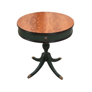 1960s Neoclassical Style Drum Table With Lion Head Detailing For Sale