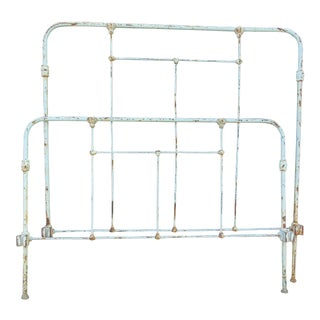 Distressed Antique Iron Headboard & Footboard For Sale