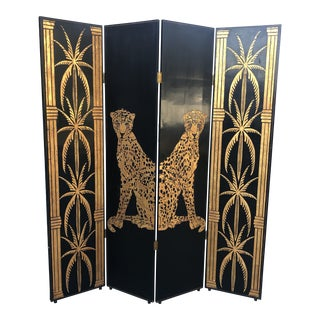 1970s Hollywood Regency Lacquered Palm Tree Room Divider** For Sale