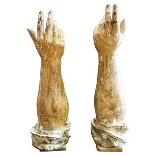 17th-18th Century Vintage Italian Carved Gilt Silver Leaf Reliquary Hands- a Pair For Sale