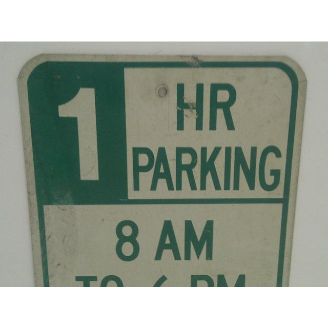 """American Vintage Metal """"One Hour Parking"""" Sign For Sale - Image 3 of 5"""