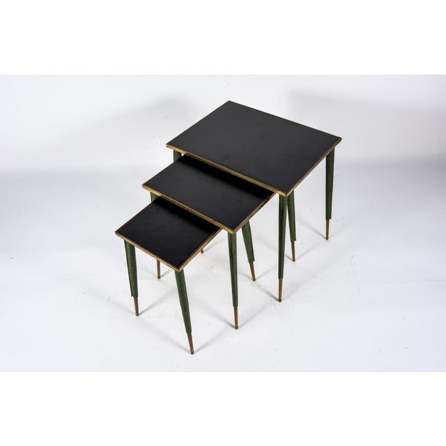 Mid-Century Modern Rare Stitched Leather Nesting Tables by Jacques Adnet - Set of 3 For Sale - Image 3 of 9