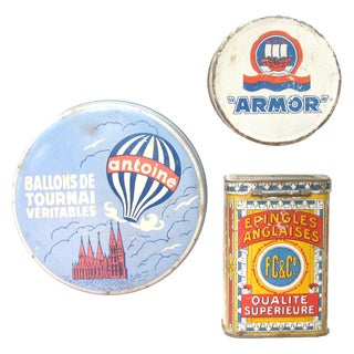Antique French & Belgian Tins, Set of 3 For Sale