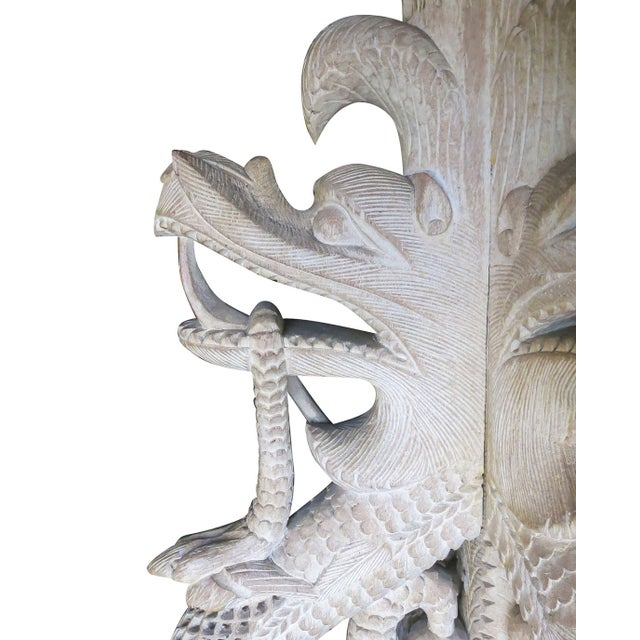 White Large Hand-Carved Burmese Dragon Pedestal Planter For Sale - Image 8 of 10