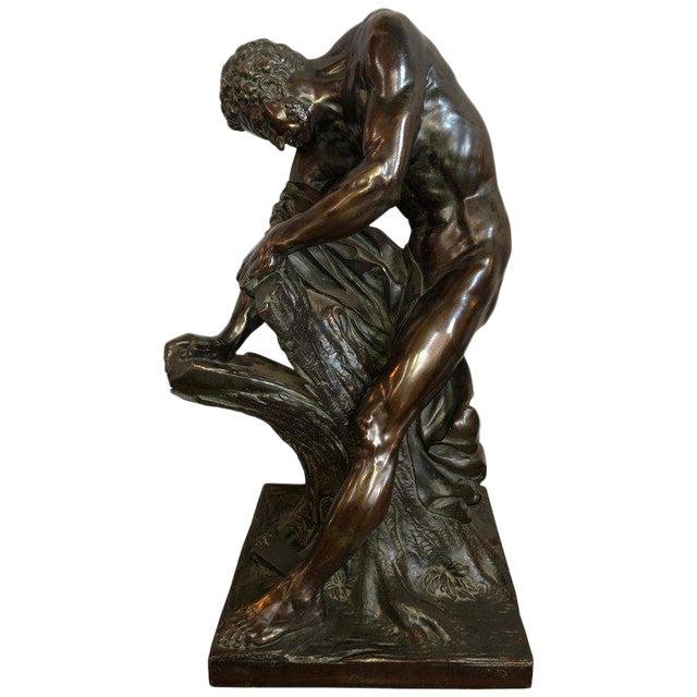 After Edme Dumont 19th Cent Large Bronze Depicting Male Figure of Milo De Croton For Sale