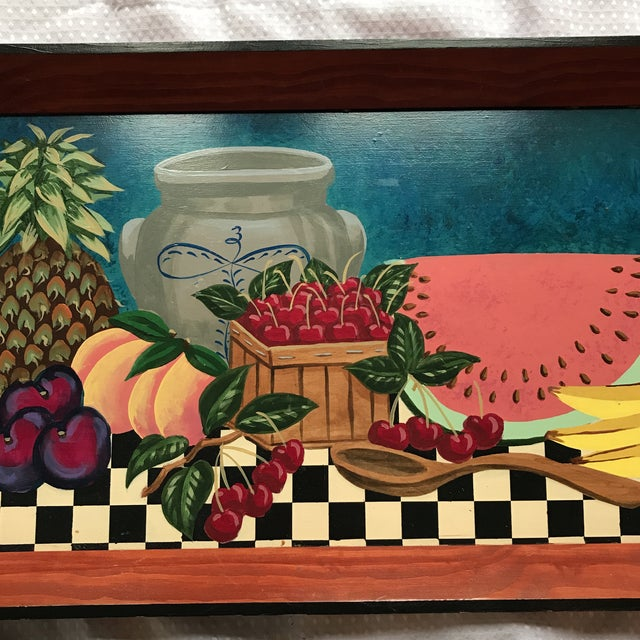 Painted Fruit Wooden Tray For Sale - Image 4 of 7