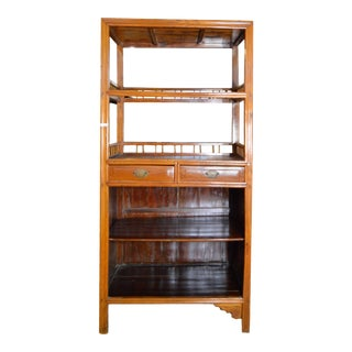 Vintage Chinese 1960s Bar Cabinet with Three Shelves and Two Drawers For Sale
