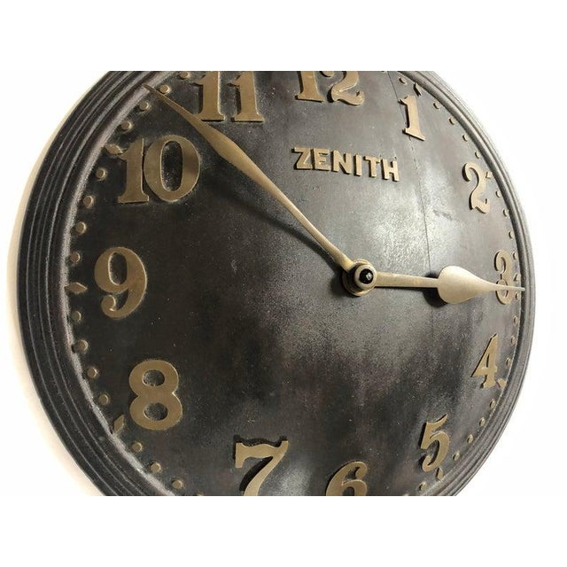 Metal 1930s Art Deco Zenith Wall Clock Decor For Sale - Image 7 of 12