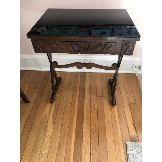 Antique English Carved Oak End Table With Crown and Black Glass Top For Sale - Image 11 of 11