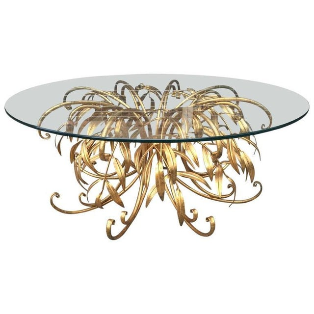 1960s Italian Gilt Metal Floral Coffee Table For Sale - Image 5 of 5