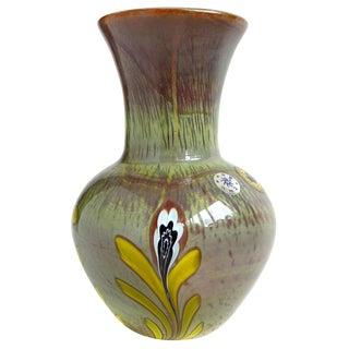 Murano Opalescent Chalcedony Millefiori Flower Murrines Italian Art Glass Vintage Mid Century Vase For Sale