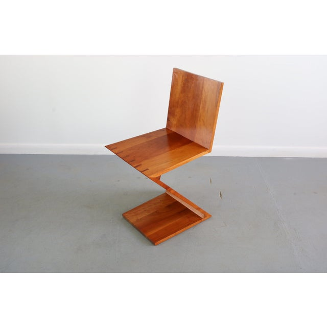 Gerrit Rietveld Inspired Vintage Chair Originally Designed by Gerrit Rietveld Called the Zig-Zag Chair For Sale - Image 4 of 7
