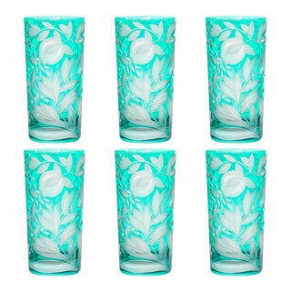 Verdure Highball Glasses, Set of 6, Teal For Sale