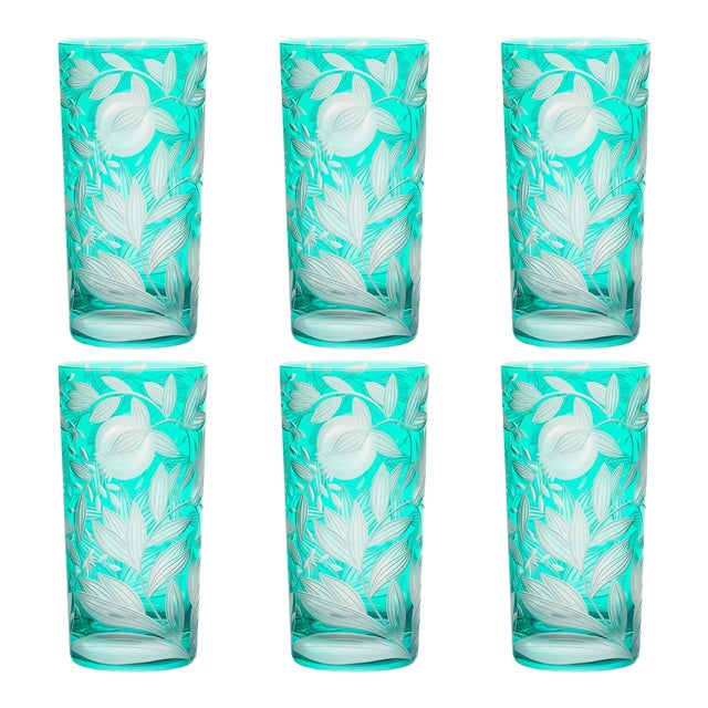 Verdure Highball Glasses, Set of 6, Teal For Sale