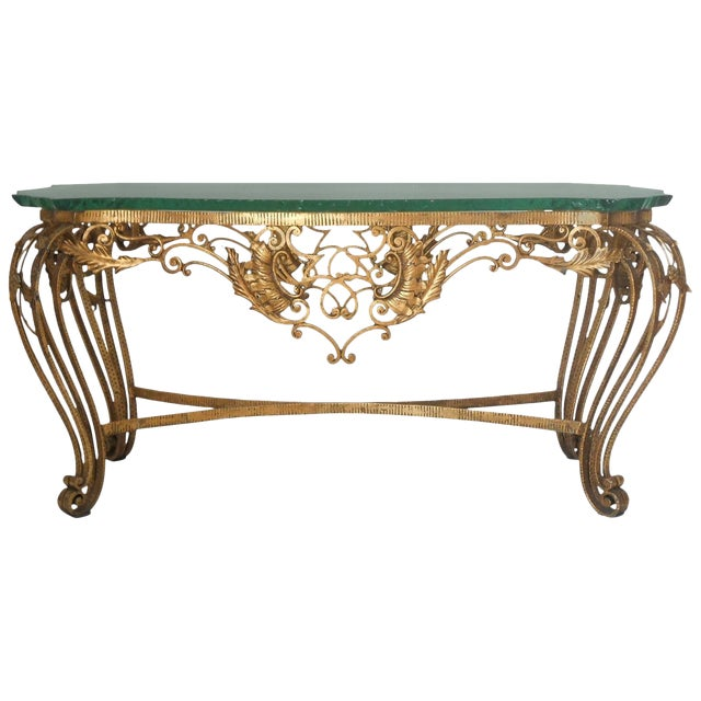 Italian Gilt Wrought Iron Coffee Table For Sale