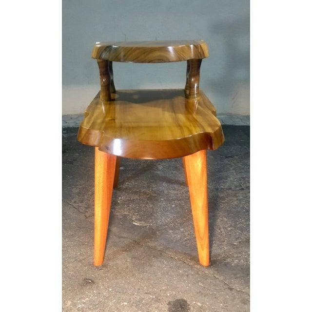 George Nakashima 1960s Organic Modern Solid Slab Koa Wood 2-Tiered End Table For Sale - Image 4 of 12