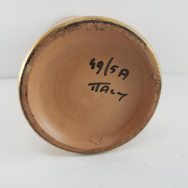 1950s Mid Century Modern Italian Bitossi Italy Sun Rosenthal Netter Pottery Vase Vintage Sunburst Orange Gold For Sale - Image 5 of 8