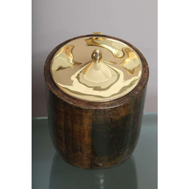 Aldo Tura Goatskin and Brass Tilted Ice Bucket For Sale - Image 9 of 9