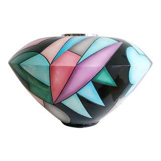 Monumental Postmodern Kevin Osborn Signed Geometric Patern Vase With Silver Rim For Sale